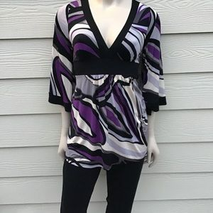 USA-made O'lala V-Neck Tunic Top, Kimono Sleeves
